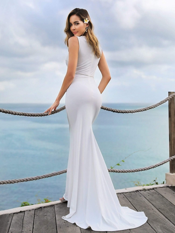 Sleeveless womens white evening dress