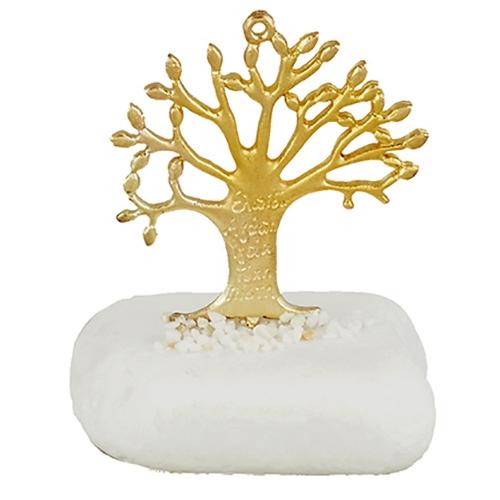 Μεταλλικό δέντρο ζωής με ευχές σε πέτρα