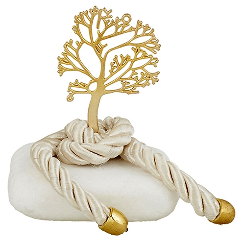 Μεταλλικό δέντρο ζωής με κορδόνι σε πέτρα