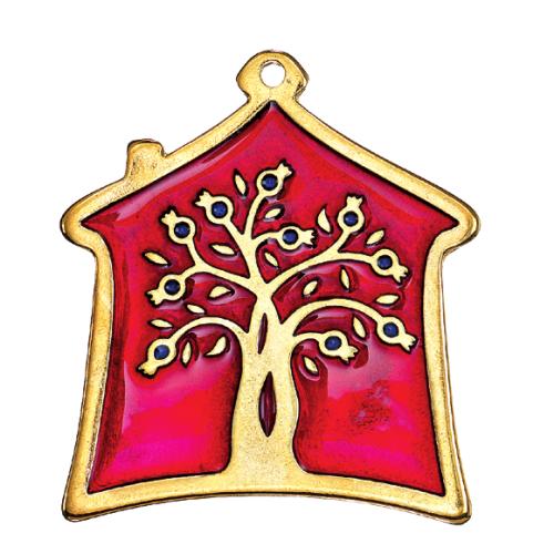 Μεταλλικό γούρι σπιτάκι με σμάλτο και σχέδιο δέντρο με ρόδια