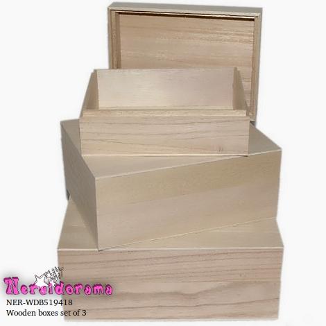 Ξύλινα κουτιά σέτ των 3