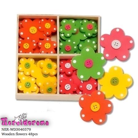 Ξύλινα διακοσμητικά λουλουδάκια σέτ 48 τεμ.