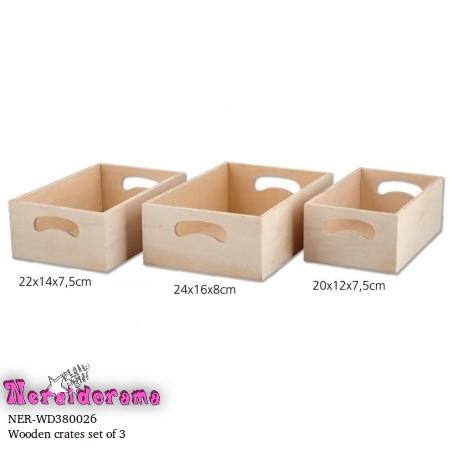 Wooden crates set of 3
