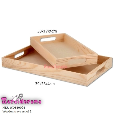Wooden trays set of 2