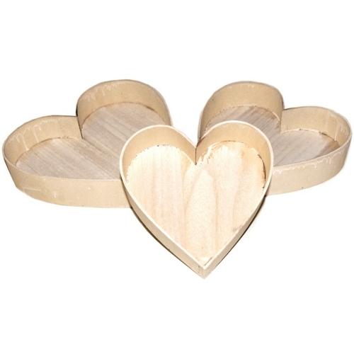 Ξύλινοι δίσκοι καρδιά σέτ των 3