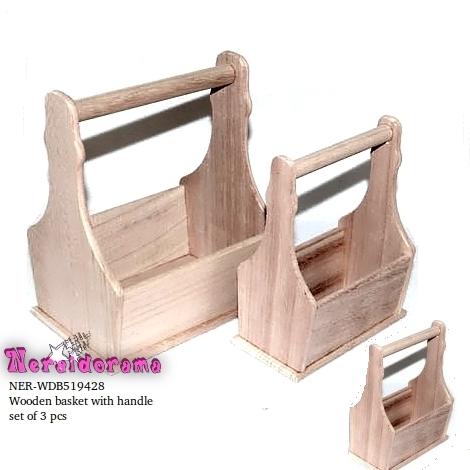 Ξύλινα καλάθια με χερούλι σέτ των 3