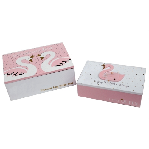 Swan wooden boxes set of 2