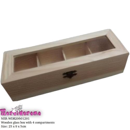 Ξύλινο κουτί με τζάμι 4 θέσεων