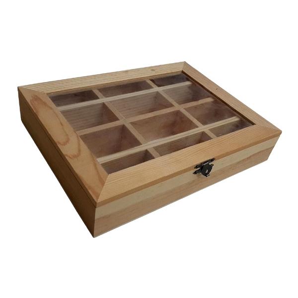 Ξύλινο κουτί με τζάμι 12 θέσεων