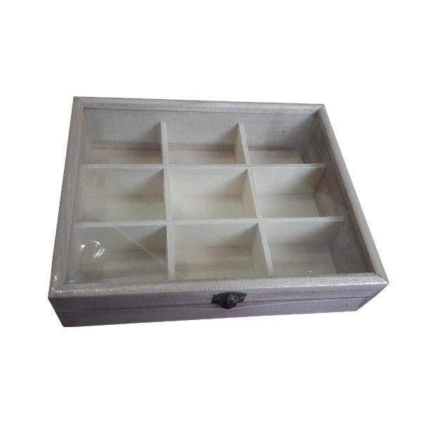 Ξύλινο κουτί με τζάμι 9 θέσεων