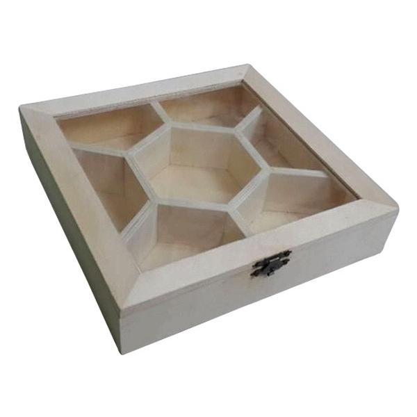 Ξύλινο κουτί με τζάμι 7 θέσεων