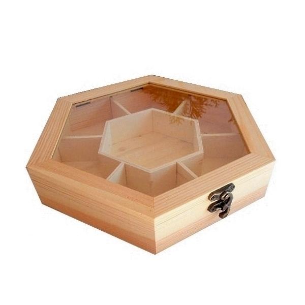 Ξύλινο κουτί εξάγωνο με τζάμι 7 θέσεων