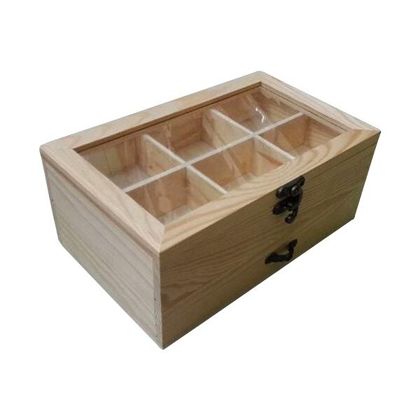 Ξύλινο κουτί με τζάμι 6 θέσεων