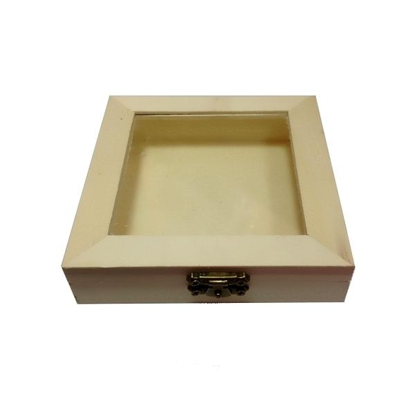 Ξύλινο κουτί με τζάμι 11.8 x 11.8 x 3εκ.