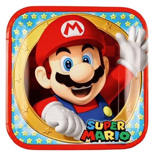 Χάρτινα πιατάκια φαγητού 23εκ Super Mario  8 τεμαχίων