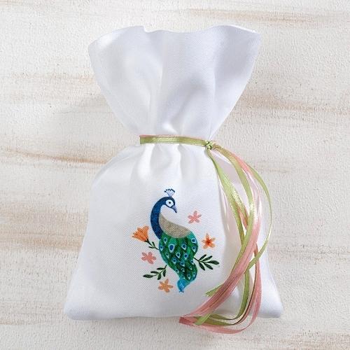 Πουγκί Με Παγώνι Μπομπονιέρα Βάπτισης
