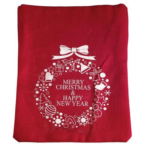Χριστουγεννιάτικο πουγκί λινάτσας Merry Christmas κόκκινο