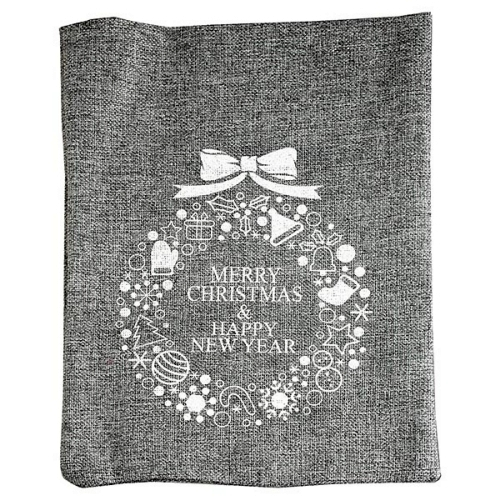 Χριστουγεννιάτικο πουγκί λινάτσας Merry Christmas γκρί
