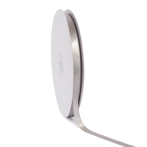 Single face satin ribbon Silver 10mm x 50m