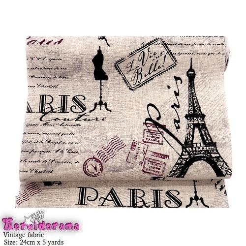 Καραβόπανο ρολό vintage ύφασμα Paris 24εκ.χ 4.5μ