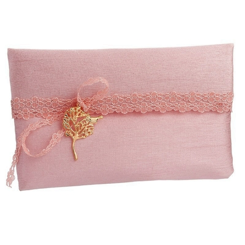 Wedding favor pink envelop silk shantung fabric