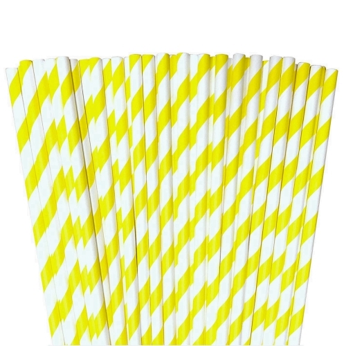 Yellow  paper striped straws