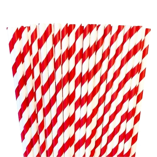 Red paper striped straws red
