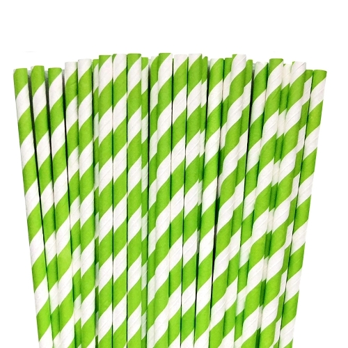 Light green paper striped straws