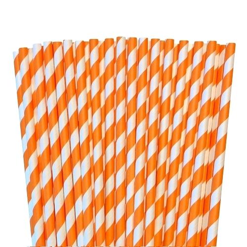 Orange paper striped straws