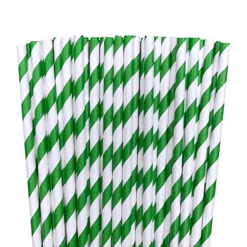 Green paper striped straws