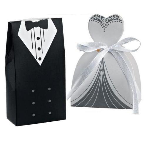 Χάρτινο κουτί γαμπρός - νύφη σέτ 12 τεμ.