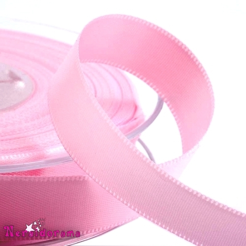 Κορδέλα σατέν διπλής όψης 25mm x 50μ. Ρόζ