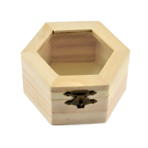 Hexagon Wooden Box With Glass 9x10x5,4cm