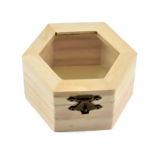Ξύλινο Κουτί Εξάγωνο Με Τζάμι 9x10x5,4 εκ