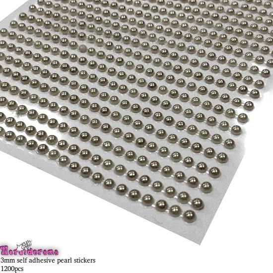 Αυτοκόλλητες πέρλες ασημί 3mm