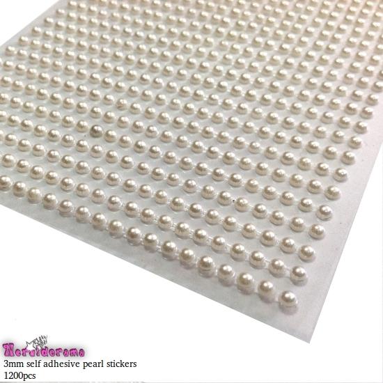Αυτοκόλλητες πέρλες ιβουάρ 3mm