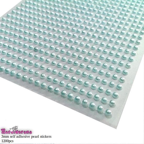 Αυτοκόλλητες πέρλες σιέλ 3mm