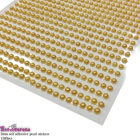 Αυτοκόλλητες πέρλες χρυσό 3mm