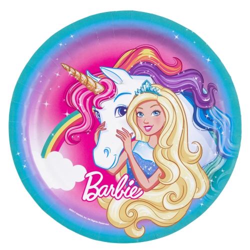 Χάρτινα πιάτα φαγητού barbie dreamtopia 23 εκ  8 τεμαχίων