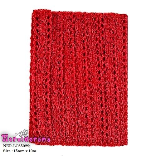 Δαντέλα κορδέλα βαμβακερή Κόκκινη 15mm