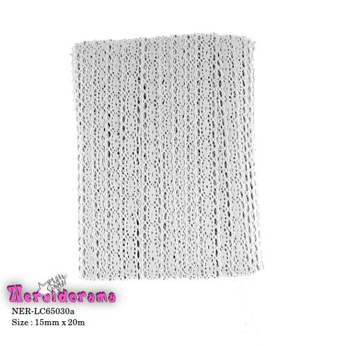 Δαντέλα κορδέλα βαμβακερή Λευκή 15mm x 20m