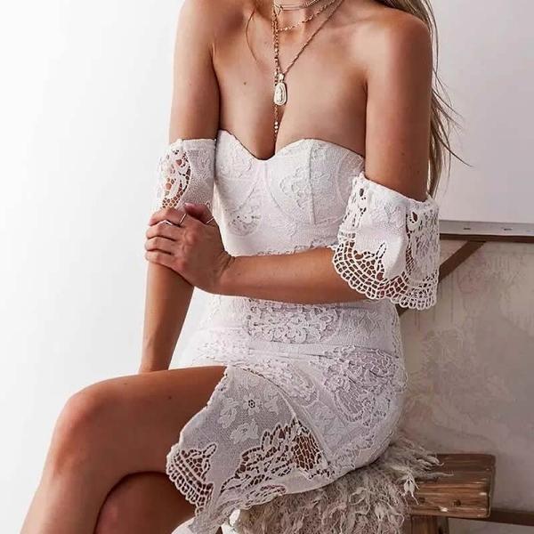 Στράπλες φόρεμα δαντέλα