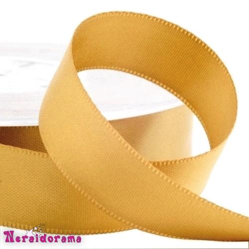 Κορδέλα σατέν διπλής όψης 25mm x 50μ. Χρυσό