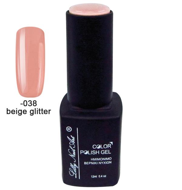 Ημιμόνιμο τριφασικό μανό 12ml - Beige glitter