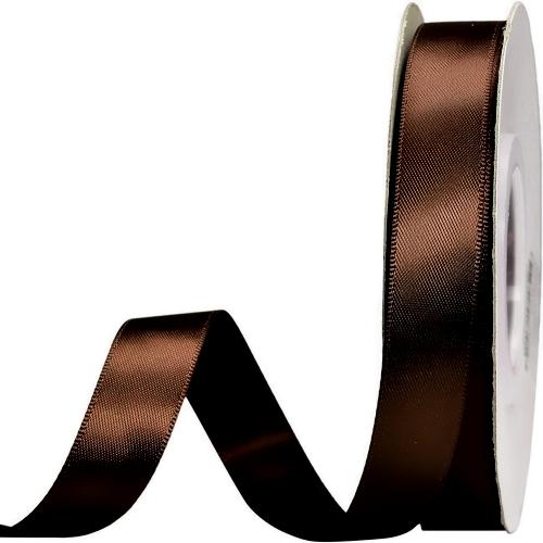 Κορδέλα Σατέν Διπλής Όψης Καφέ 15mm x 50μ.