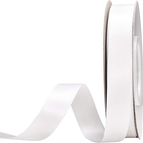 Κορδέλα  Σατέν Διπλής Όψης Λευκό 15mm x 50μ.