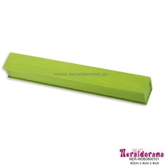 Ξύλινο λαμπαδόκουτο  πράσινο 42εκ X 4εκ Χ 4εκ