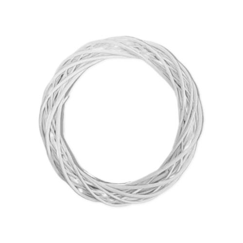 Ξύλινο Στεφάνι Μπαμπού Λευκό 4.5x25εκ.