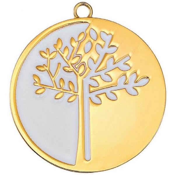 Μεταλλικό δέντρο της ζωής με σμάλτο Χρυσό - Λευκό