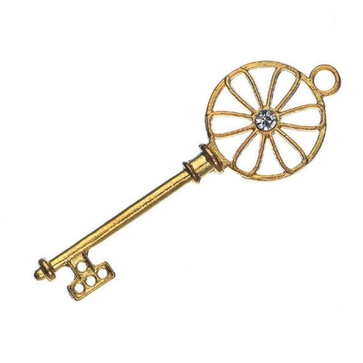 Μεταλλικό κλειδί με στράς χρυσό
